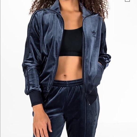 7e6f5a82 Adidas Originals Navy Blue Velvet Track Jacket